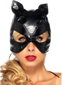 Cat Mask Faux Leather Black For Adults