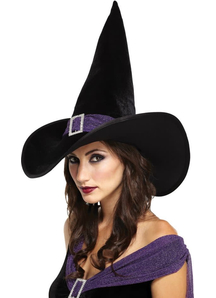 Elegant Witch Hat Black Purple For All