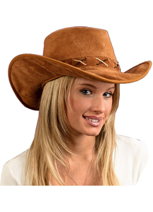 Hat Cowboy Suede-Look For Adults