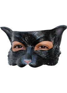 Kitty Black Latex Half Mask For Adults