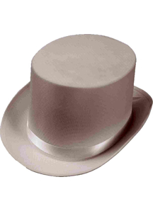 Top Hat Satin White For Adults