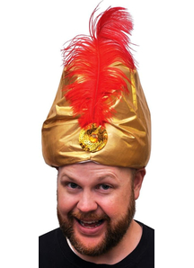 Turban Dlx Gold W Plume For Adults