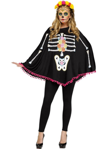 Day Of The Dead Poncho For Adults