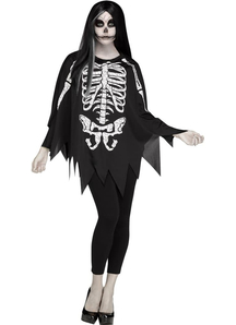 Skeleton Black And White Poncho For Adults
