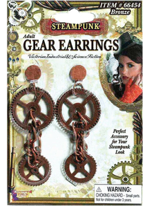 Steampunk Style Gear Earrings