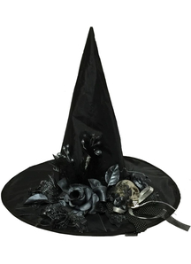 Witch Hat With Flowers And Skull