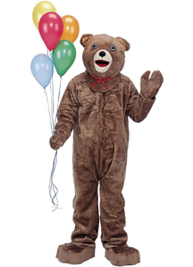 Teddy Bear Adult Costume Includes Oversized Mascot Head, Plush Jumpsuit, Mittens, Spats And Parade  Big Feet.