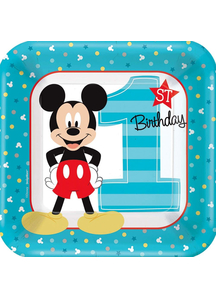 Mickey 1St Sq Plates 7In