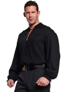 Pirate Shirt Adult Plus Black