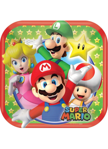 Super Mario Sq Plates 7In