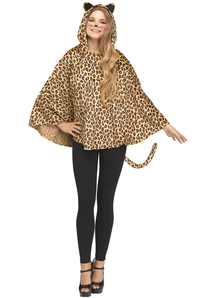 Hooded Poncho Leopard