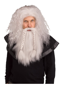 Viking Wig & Beard Grey