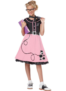 50'S Stylish Girl Child Costume