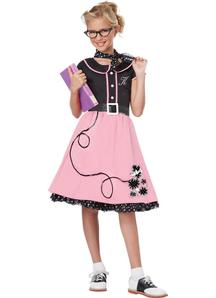 50'S Stylish Girl Child Costume