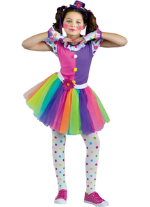 Bright Clown Costume For Girls