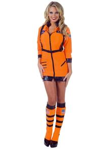 Astronaut Orange Female Adult Costume