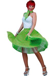 Polka Dot Skirt Adult Green/Pink