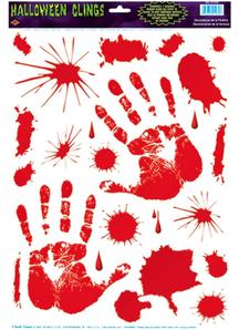Bloody Handprint Clings. Walls, Doors, Windows Halloween Decorations.
