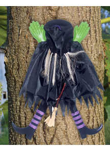 Tree Trunk Witch. Outdoor Decoration.