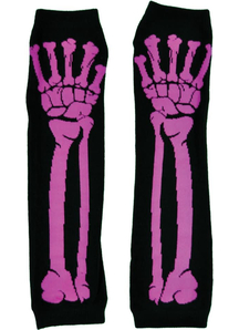Glove Long Pink Bone Print