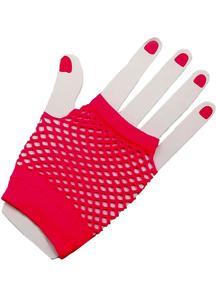 Gloves Fingerless Fishnet Pink