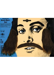Mustache Sideburns Set Black