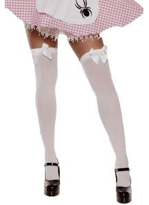 Stockings Thi Hi W/Bow Wt/Bk