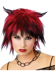 Devilish Shag Wig Black/Red For Halloween