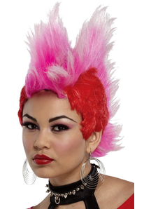 Double Mohawk Wig Red Hot Pink For Adults
