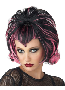 Goth Flip Black Pink Wig For Halloween