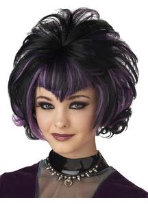 Goth Flip Black Purple Wig For Women