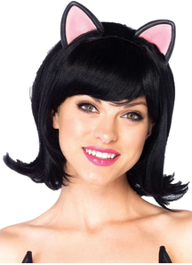 Kitty Bob Black Wig For Adults