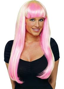 Neon Pink/Blonde Wig