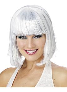 White Shimmering Bob Wig For Women