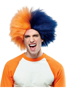 Wig For Sports Fun Navy Blue Orange