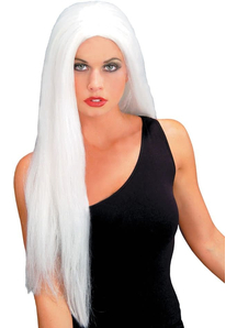 24 Inch Straight White Wig For Adults