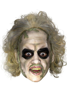 Beetlejuice 3/4 Vnyl Mask W Hair For Adults