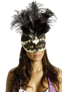 Carnival Mask Big Feathr Bk/Gd For Masquerade
