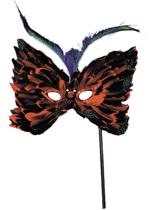 Feather Mask W Stick Assort For Adults