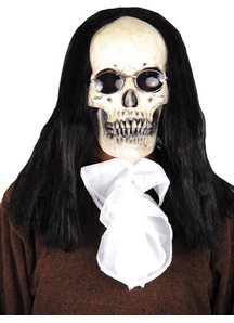 Goth Skull Mask With Hair For Halloween