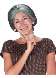Granny Grey Wig For Adults