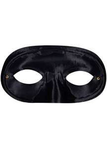 Half Domino Mask Black For Adults