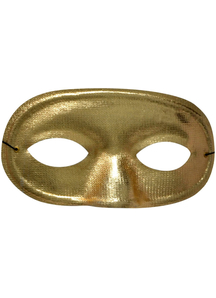 Half Domino Mask Metallic Gold For Adults