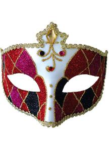 Mardi Gras Eye Mask Red Black For Masquerade