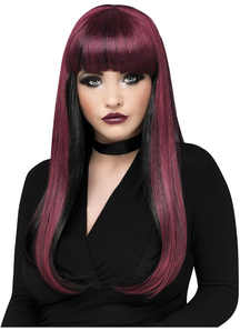 Neon Black/Burgundy Natural Wig