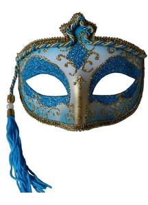 Tasseled Mardi Gras Mask Bluefor Masquerade