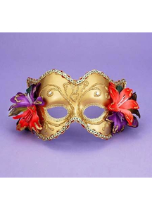 Ven Mask Gd/Gd W/Flowers For Adults