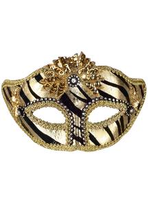 Ven Mask Striped Gold For Masquerade